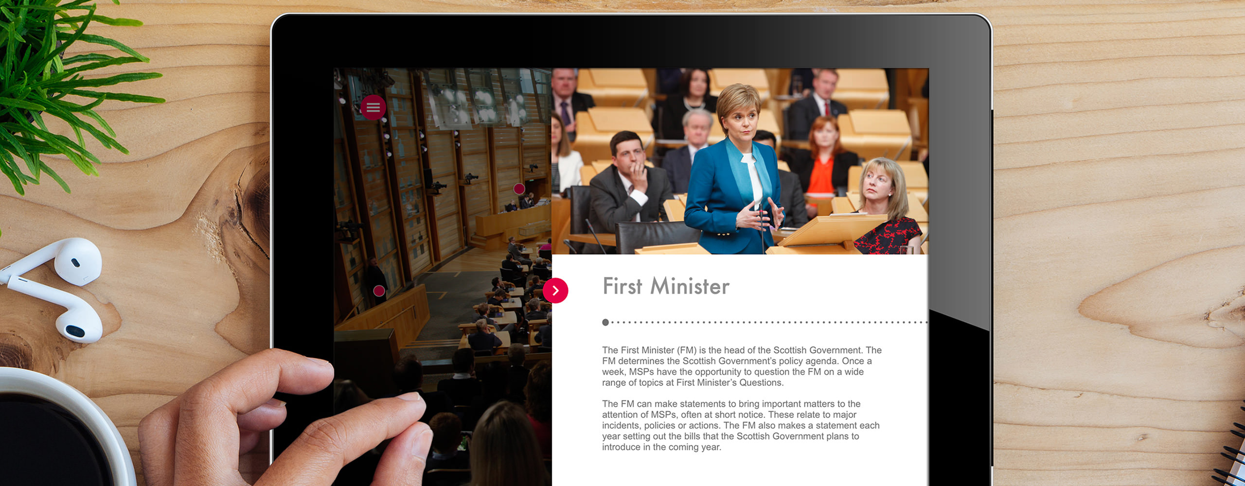 scottish parliament chamber app with first minister on screen